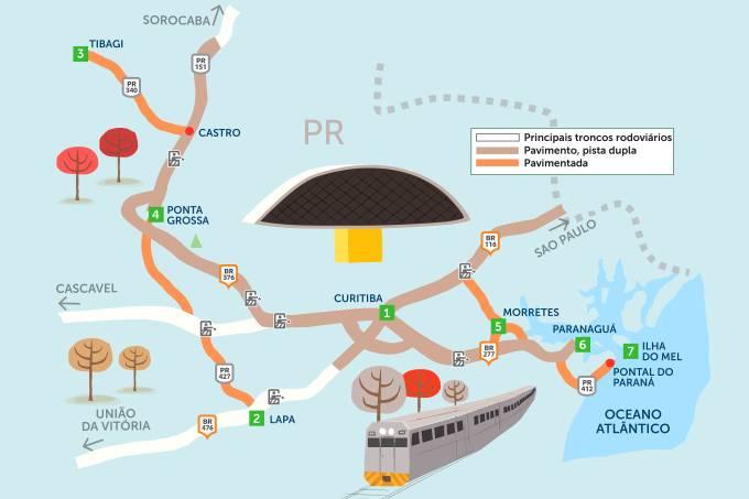Mapa do Roteiro Rodoviário Curitiba e arredores