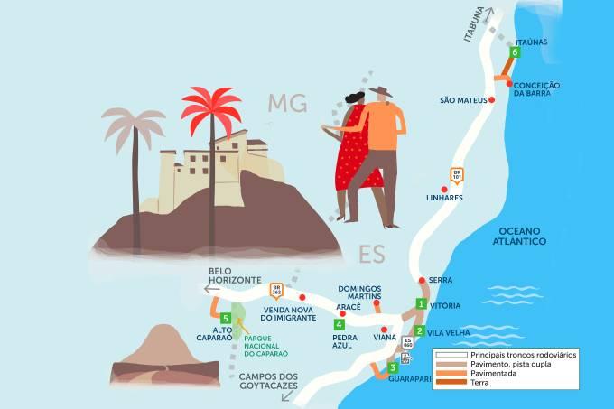 Mapa do Roteiro Rodoviário Espírito Santo