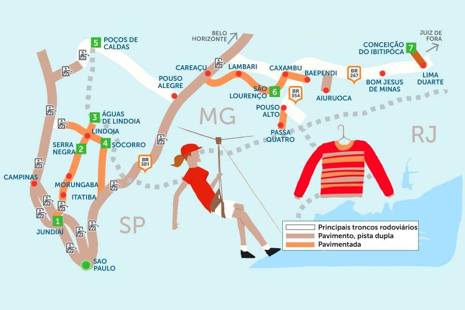 Os relaxantes balneários hidrominerais paulistas e mineiros continuam ganhando fãs – assim como as cidades repletas de cascatas da região. Clique na seta à direita do mapa para ver o roteiro de 18 dias pelas estâncias do interior de São Paulo e Minas Gerais.