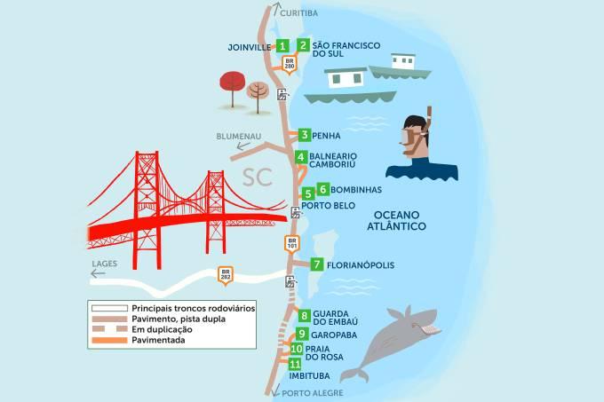 Mapa do Roteiro Rodoviário Litoral de Santa Catarina