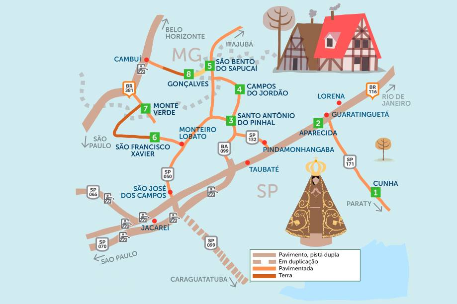 """Bucólicos ou badalados, esses destinos atraem casais, amantes da natureza e da boa gastronomia. Clique na seta à direita do mapa para ver um roteiro por oito cidades do interior de <a href=""""http://viagemeturismo.abril.com.br/estados/sao-paulo/"""">São Paulo</a> e <a href=""""http://viagemeturismo.abril.com.br/estados/minas-gerais/"""">Minas Gerais</a>."""