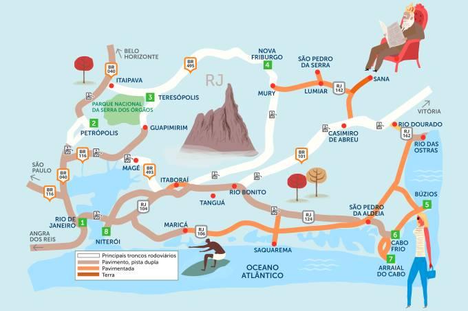 Mapa do Roteiro Rodoviário Serra Fluminense e Região dos Lagos