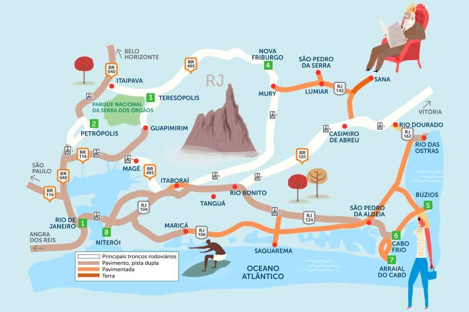 As montanhas e o litoral norte do estado do Rio não deixam nada a dever em beleza para sua capital. Clique na seta à direita do mapa para conhecer um roteiro que contempla todo o interior do estado, começando na capital e terminando em Niterói.