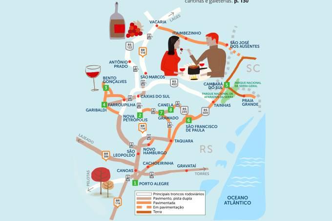 Mapa Roteiro Rodoviário Serra Gaúcha