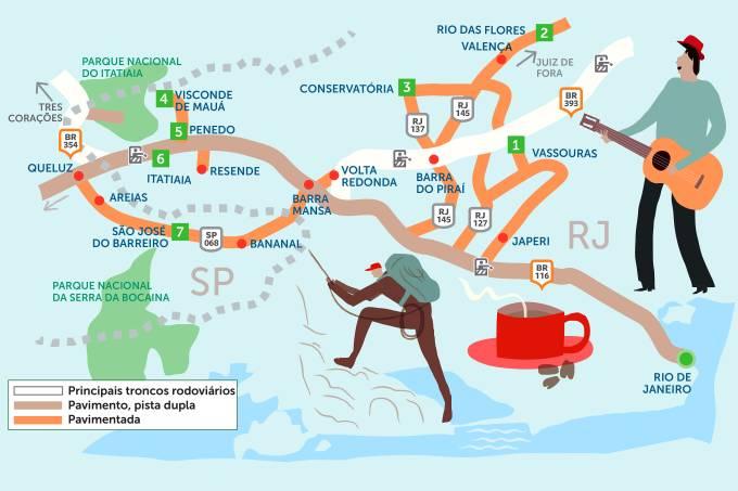Mapa do Roteiro Rodoviário Vale do Café e Serra da Bocaina