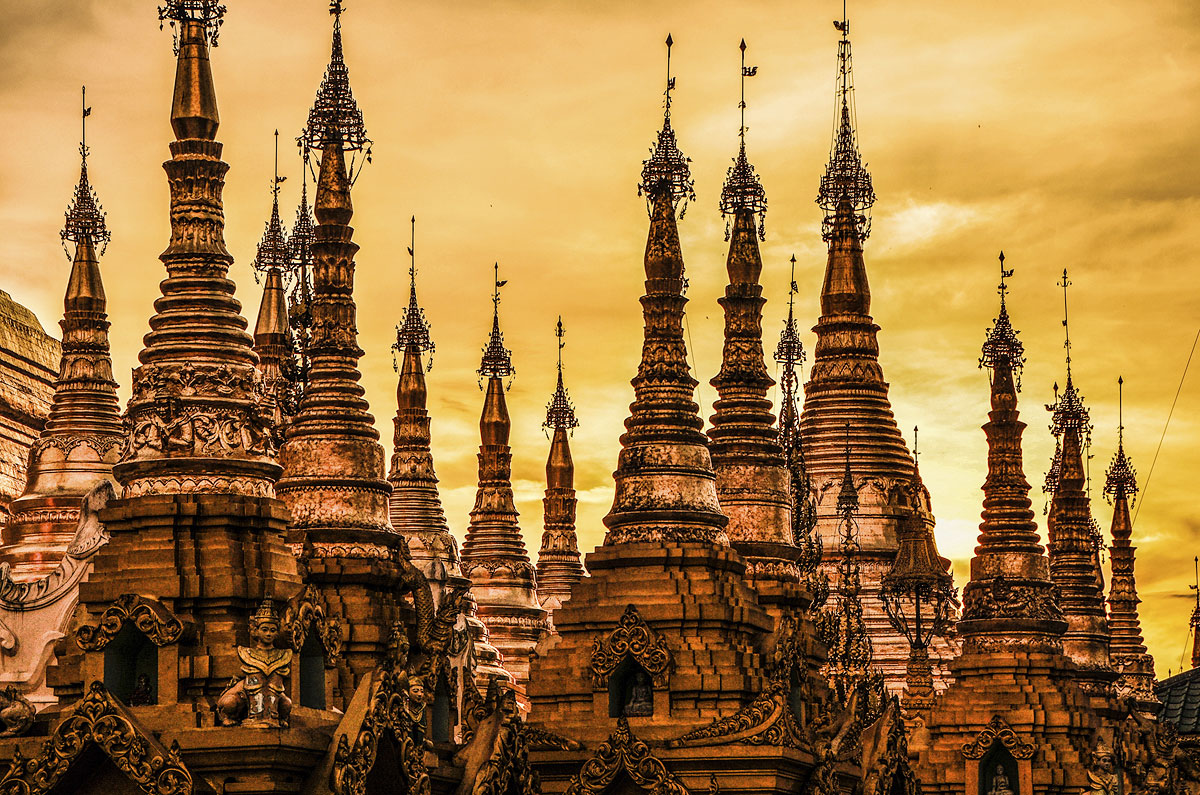 Yangon, ou Burma, em Mianmar, na Ásia