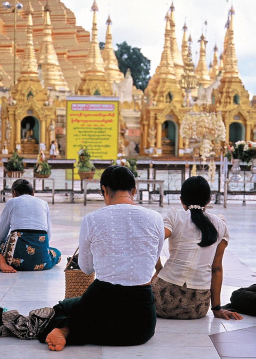Pausa da hora do almoço em Mianmar