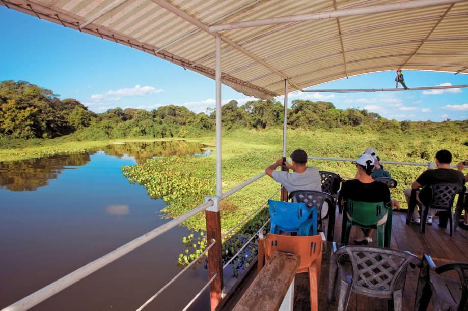 No Pantanal (MT e MS) os passeios pelo rio permitem chegar próximo a jacarés, capivaras e aves aquáticas