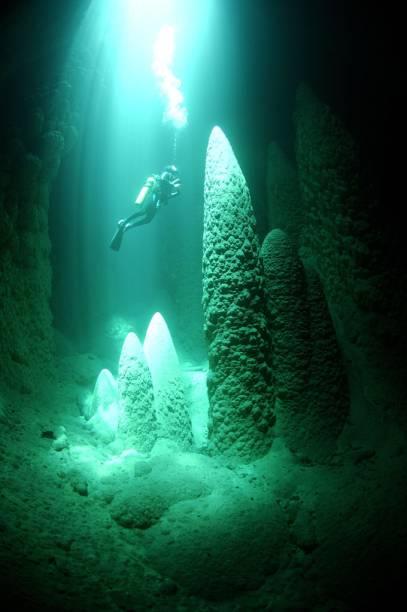 """Mergulho no lago do <a href=""""http://viajeaqui.abril.com.br/estabelecimentos/br-ms-bonito-atracao-abismo-anhumas"""" rel=""""Abismo Anhumas""""><strong>Abismo Anhumas</strong></a>, em Bonito (MS). Debaixo dágua, os cones – formados pela sedimentação do calcário que goteja constantemente na lagoa – chegam a até 20 metros"""