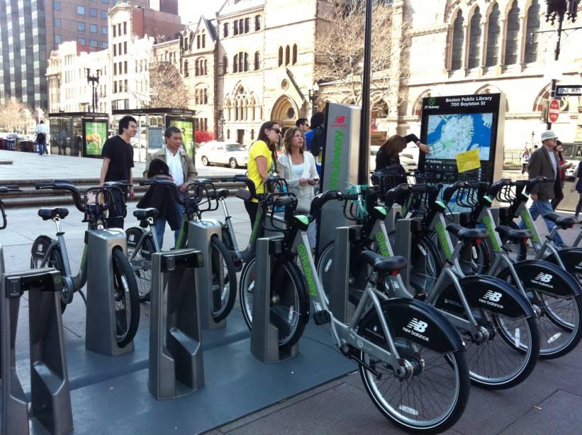 A cidade de Boston tem um vasto sistema de empréstimo de bicicletas