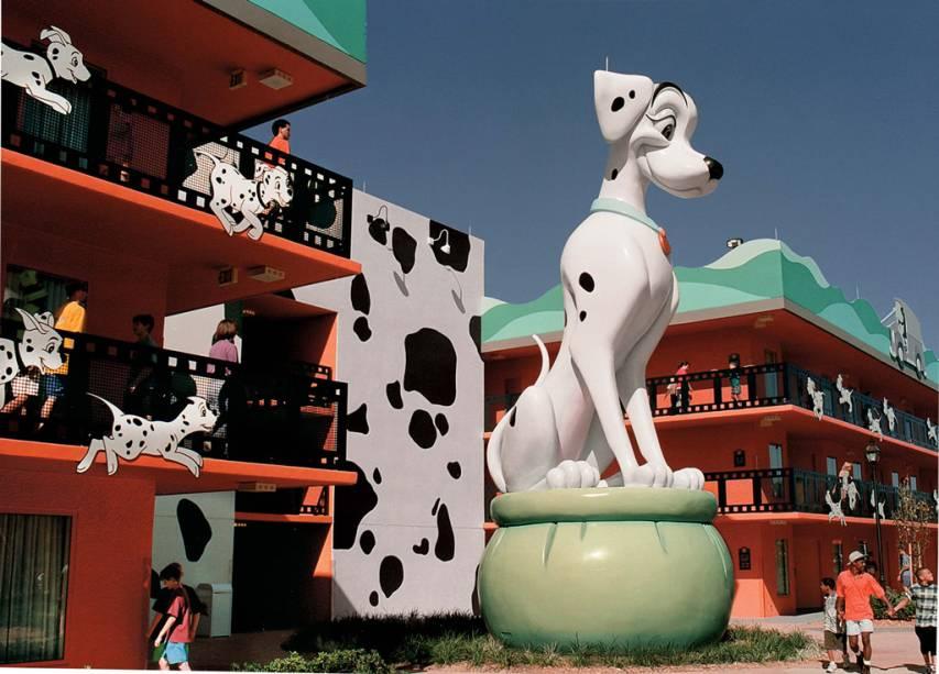 Os cães de <em>101 Dálmatas</em> enfeitam o hotel All-Star Movies, no Walt Disney World Resort