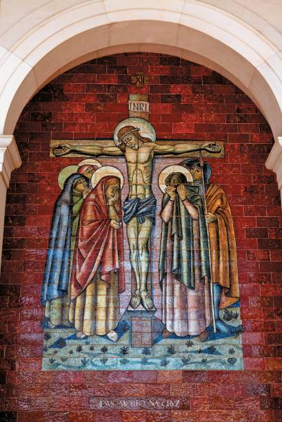 Cena da Paixão de Cristo em mural de Fátima