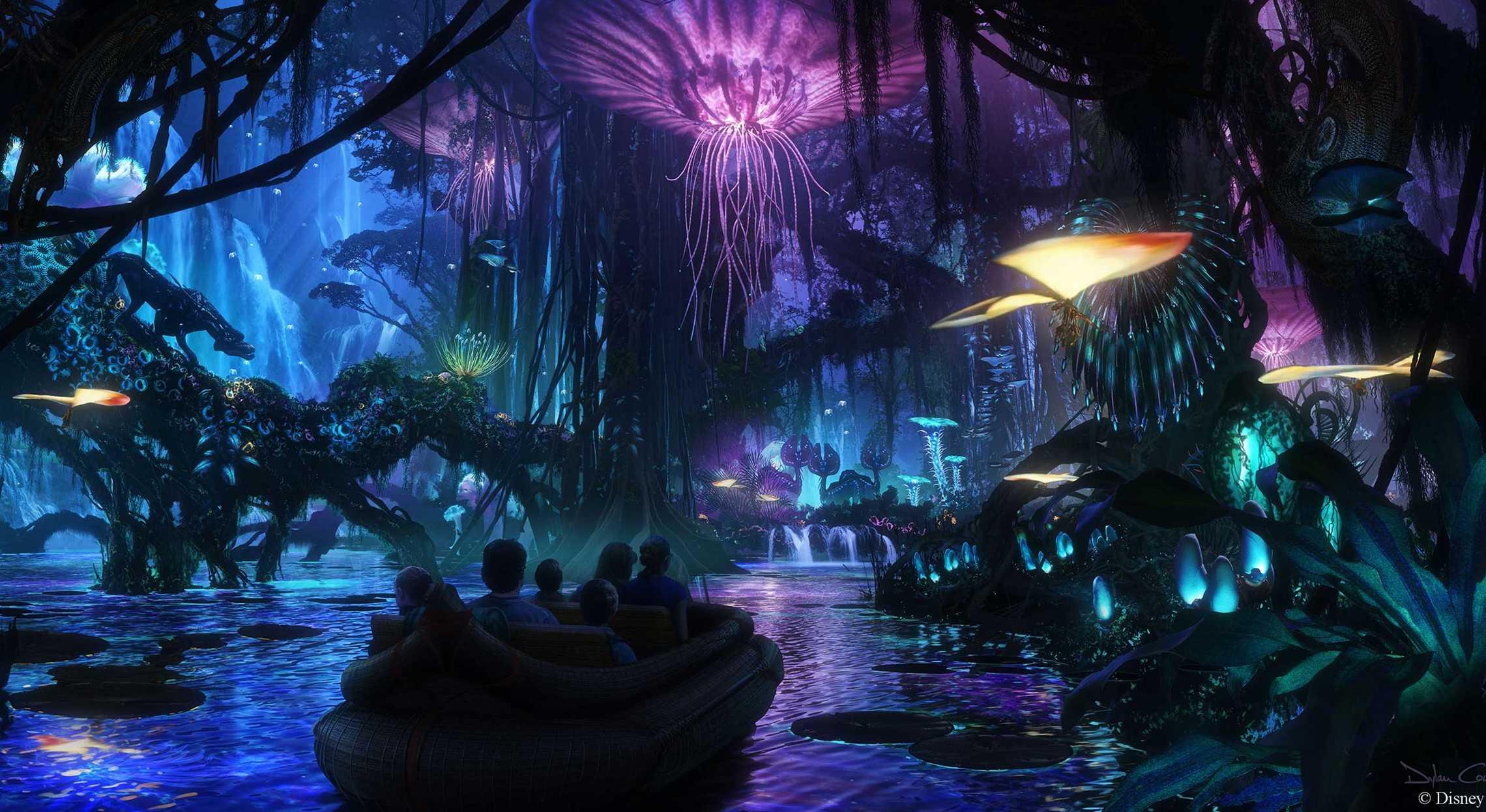 Um dos brinquedos da área de Avatar vai simular o planeta Pandora e suas bioluminescências