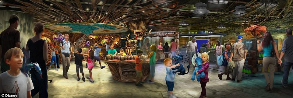 Ilustração mostra como serão as lojinhas da nova área do parque, que está prevista para estrear no próximo verão dos Estados Unidos