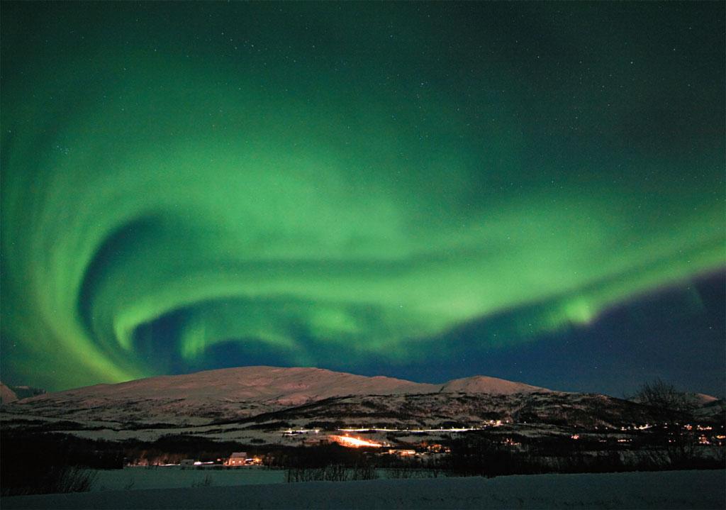 Aurora boreal emTromsø, ao norte da Noruega
