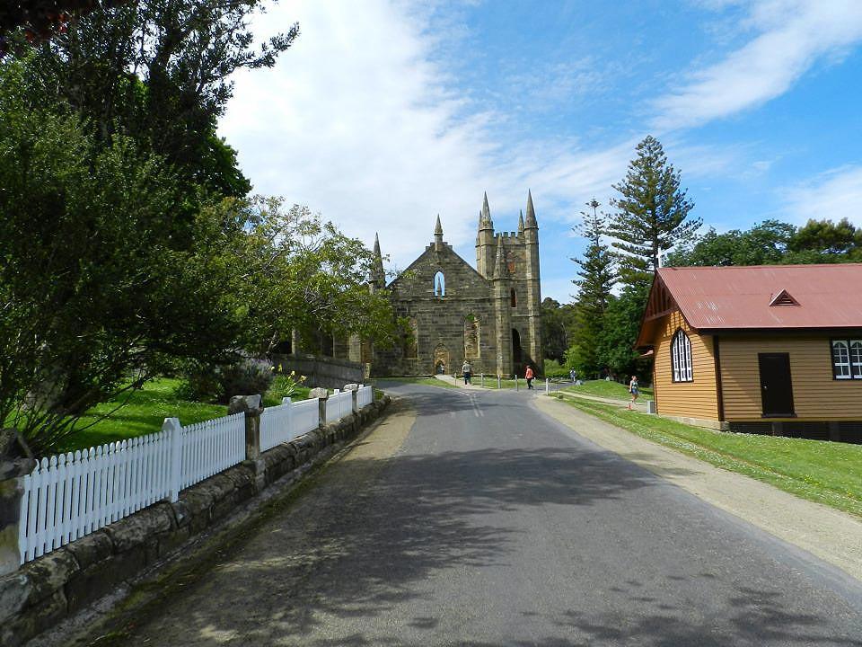 A igreja de Port Arthur, hoje em ruínas