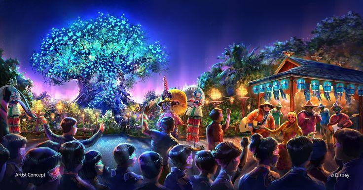 Imagem conceitual do show Rivers of Light, com a Tree of Life ao fundo (Foto: divulgação)