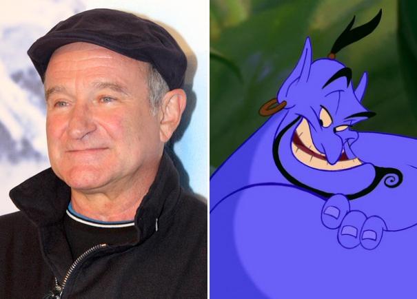 A voz que nunca será esquecida! :) (Fotos: à direita, Robin Williams | Wikimedia Commons | Creative Commons | Eva Rinaldi; Gênio | Filme Aladdin)