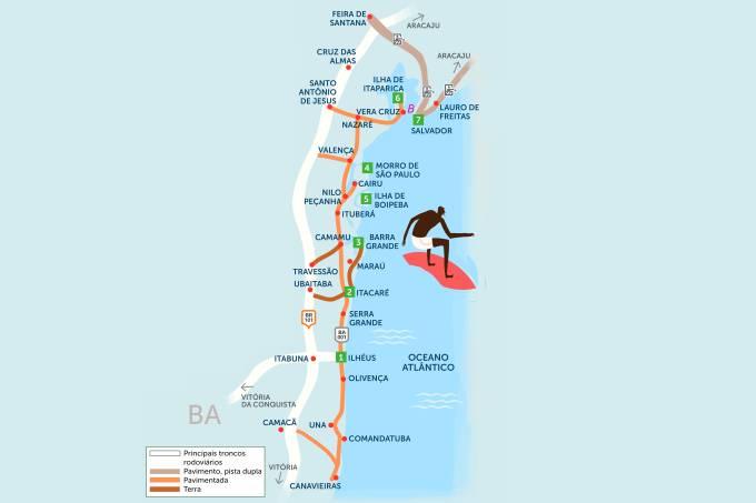 Roteiro rodoviário estradas Costa do Cacau e Costa do Dendê