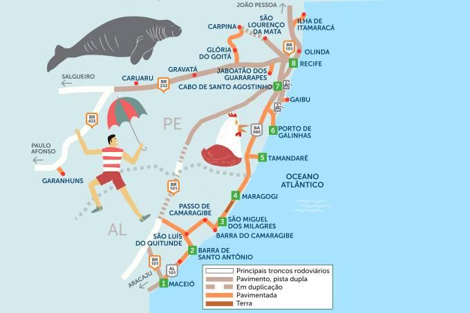 Roteiro rodoviário estradas de Maceió a Recife