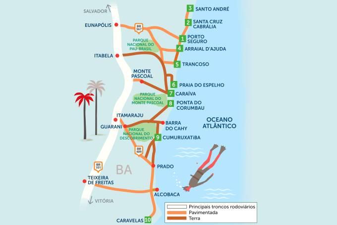 Roteiro rodoviário estradas do sul da Bahia