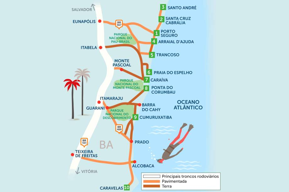 """Esse roteiro arrebatou corações dos primeiros portugueses a chegarem ao <a href=""""http://viagemeturismo.abril.com.br/paises/brasil/"""" target=""""_blank"""">Brasil</a>. E você, por terra, também pode se encantar pelas belíssimas paisagens do litoral sul da <a href=""""http://viagemeturismo.abril.com.br/estados/bahia/"""" target=""""_blank"""">Bahia</a>. Clique na seta à direita do mapa para ver o roteiro de 26 dias por 10 lugares imperdíveis da região"""
