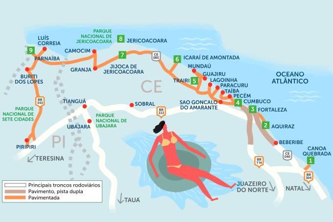 Roteiro rodoviário estradas litoral Ceará e Piauí