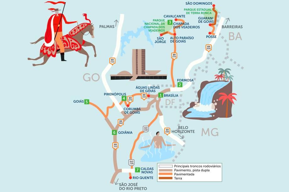 Desde Brasília ou Goiânia, bem no coração do país, parte-se para explorar rotas cheias de natureza, história e piscinas com águas termais. Clique na seta à direita do mapa para ver um roteiro por belas cidades e cachoeiras da região do Planalto Central.