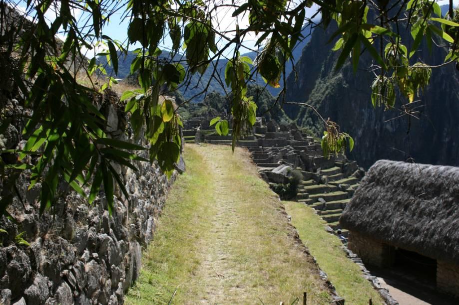 Ruínas na Cidade Sagrada dos incas em Machu Picchu