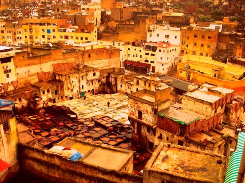 Tanques de tingimento em Marrakesh