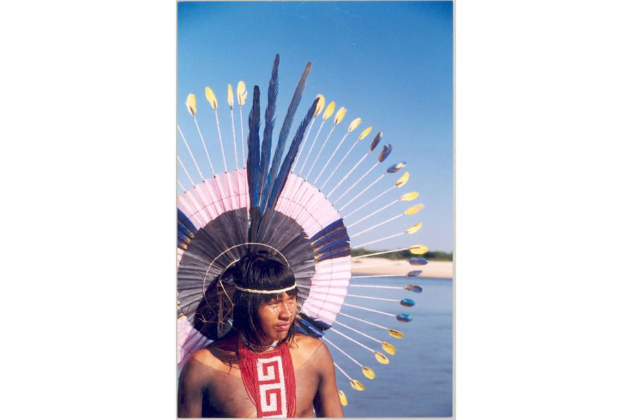 Índio Karajá na Ilha do Bananal no Rio Araguaia, Tocantins