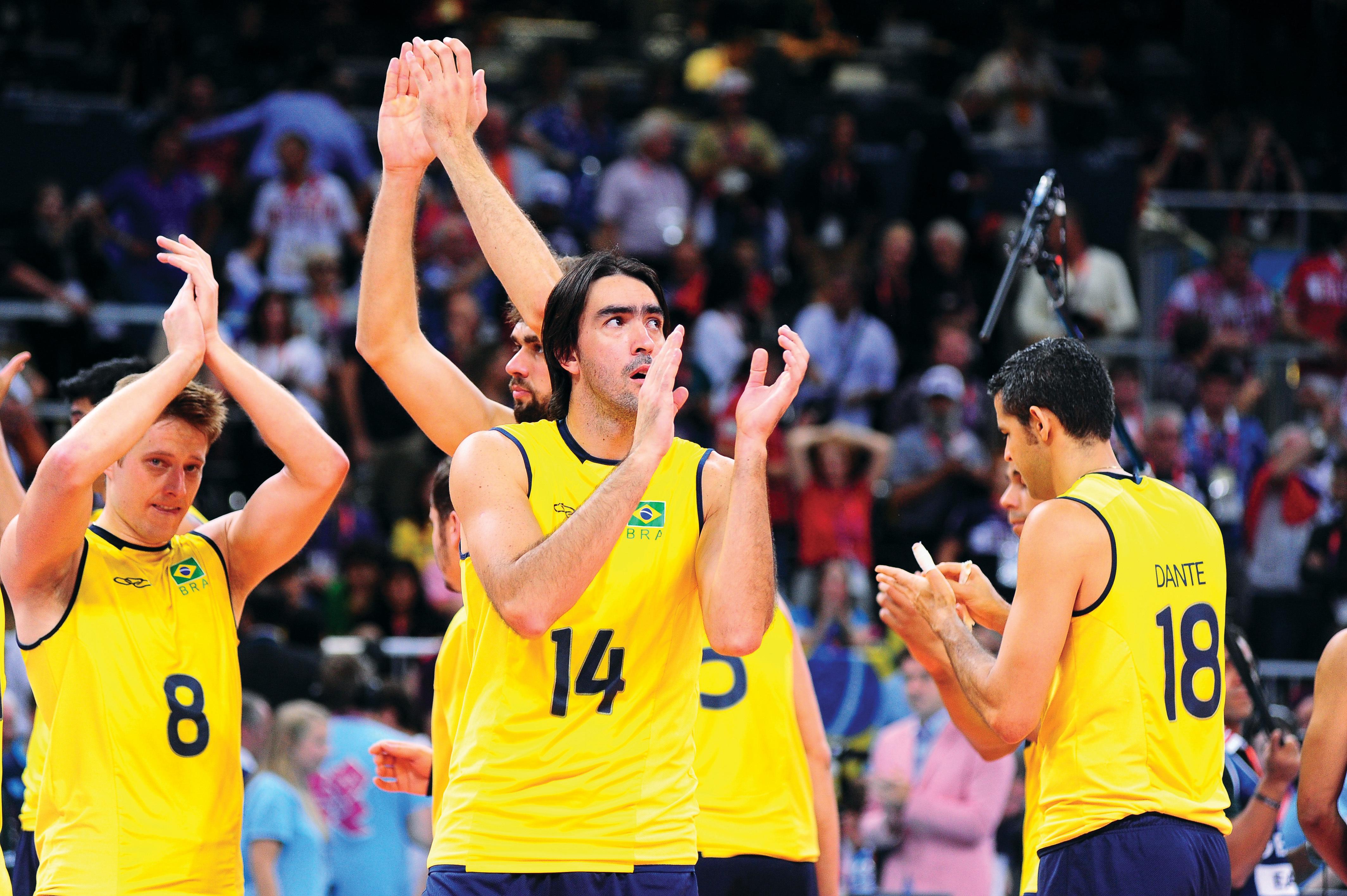 Equipe brasileira masculina de vôlei, que vai disputar a Liga Mundial de 2013