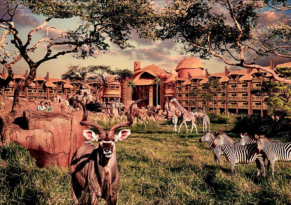 Zebras, girafas e cervos espalham-se por um gramado na frente de um complexo de prédios