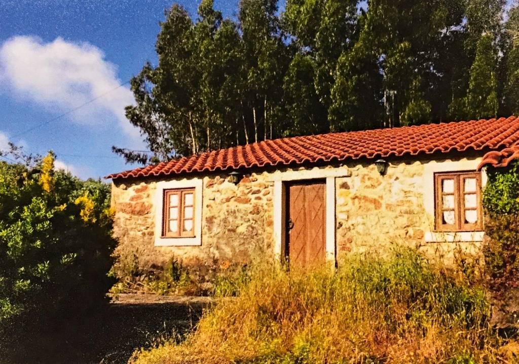 Casa simples, de um andar, cercada por vegetações baixas na parte da frente e árvores altas atrás