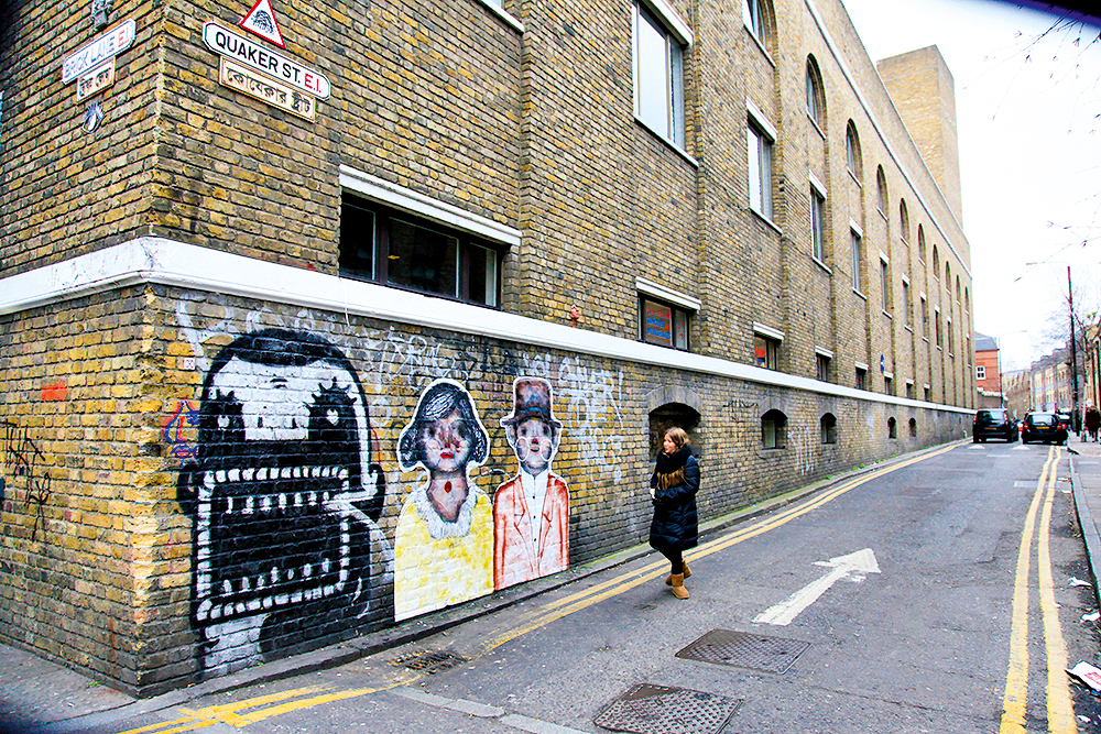Grafites em East London, Brick Lane, Londres, Inglaterra