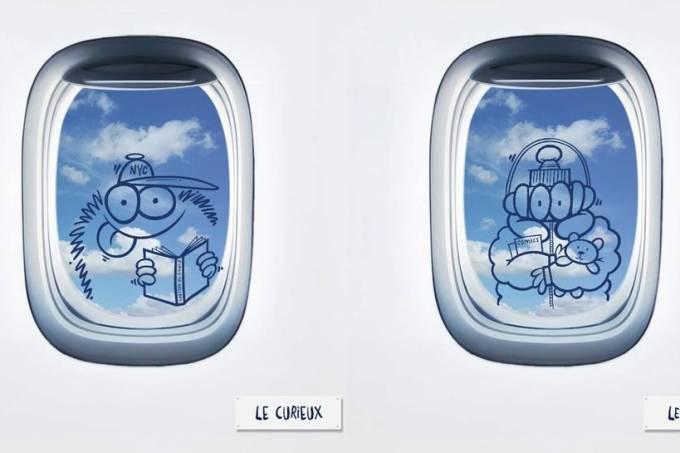 ilustrações Kevin Lyons avião companhia aérea Le Compagnie sorteio Paris