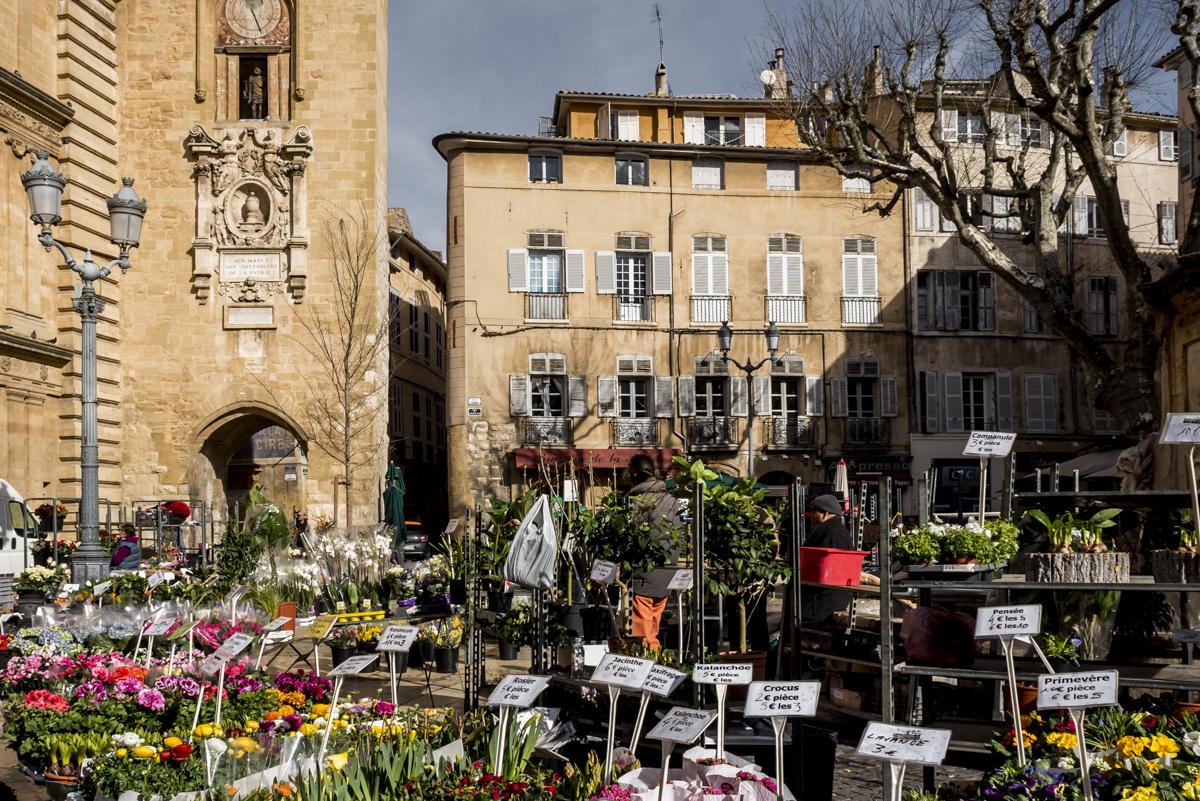 Place de la Mairie: o coração de Aix ainda mais colorido com a feira de flores
