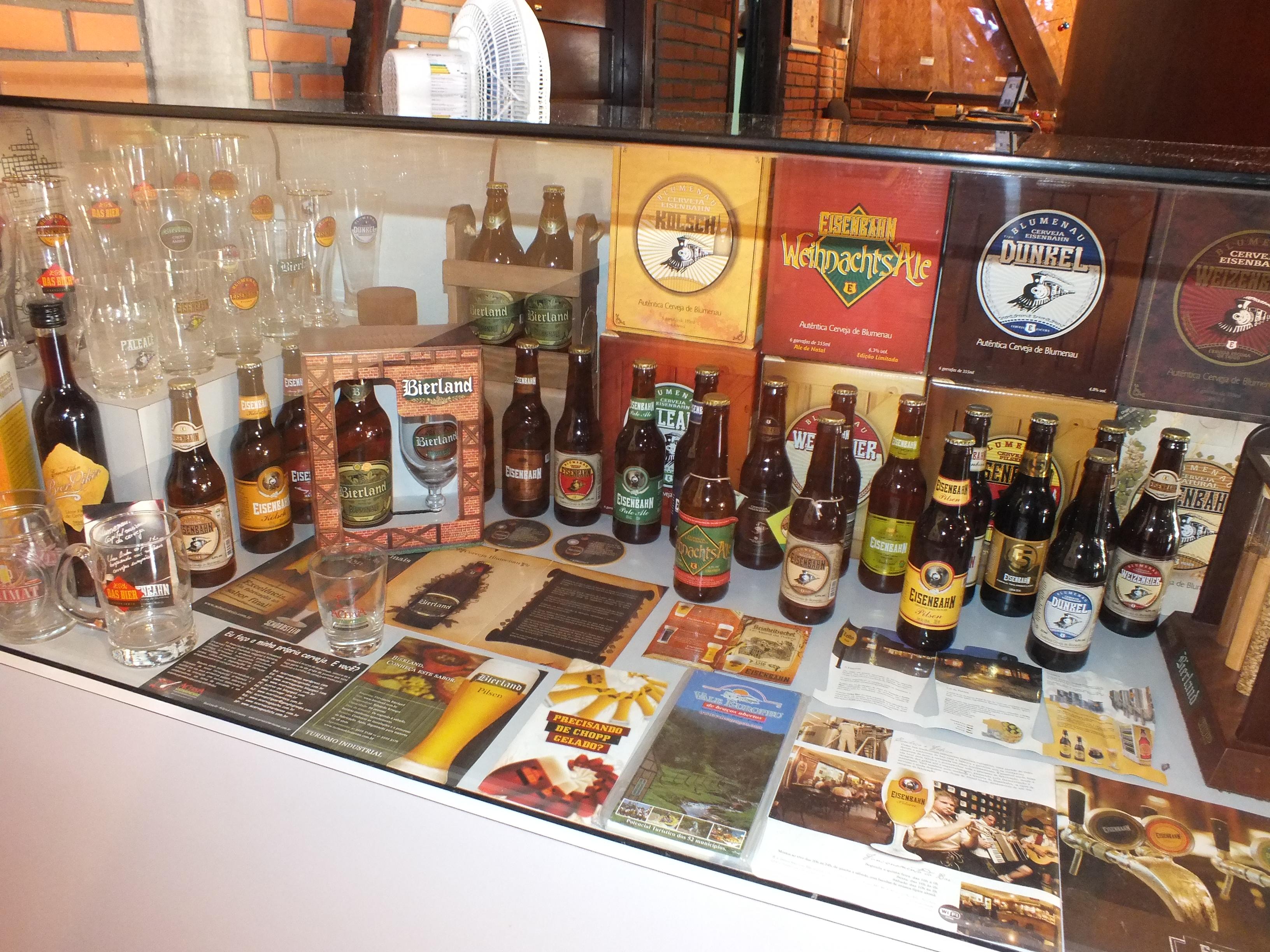 Exposição de cerveja no Museu da Cerveja em Blumenau