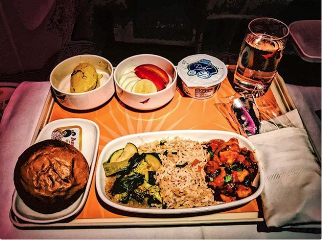 Opção vegetariana da companhia aérea Air India