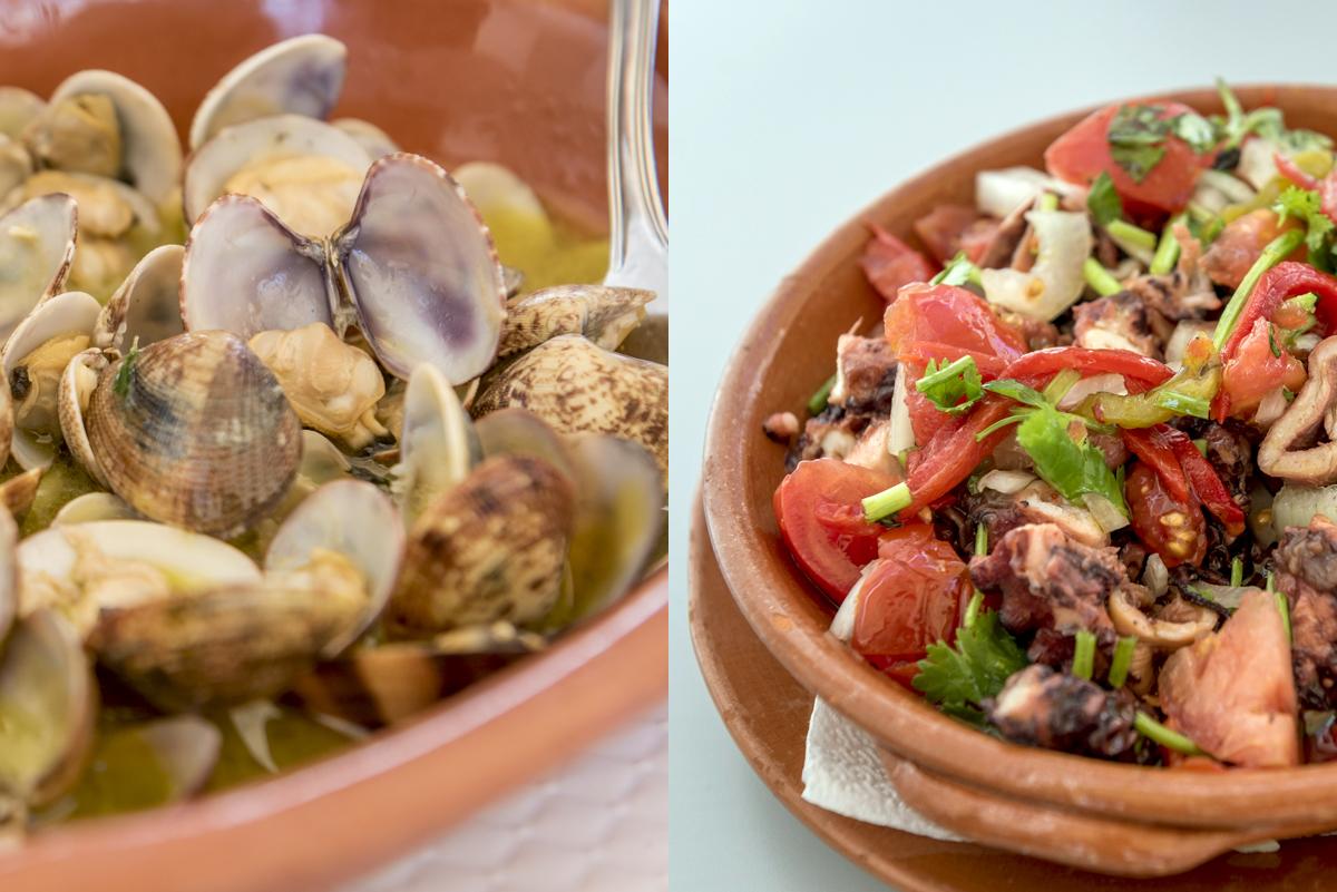 Amêijoas à Bulhão Pato e saladinha de lulas do restaurante Zé Inácio: para arrematar o dia