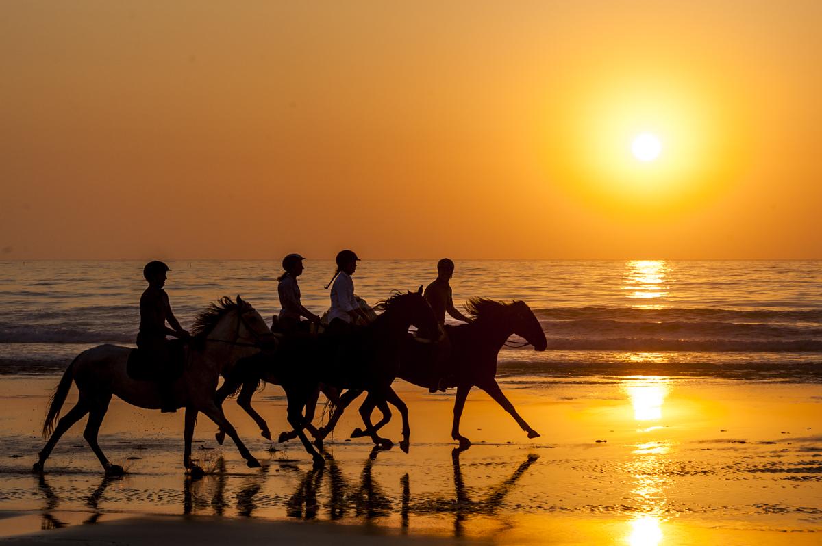Passeio a cavalo na Praia do Malhão, em Vila Nova: belo cenário