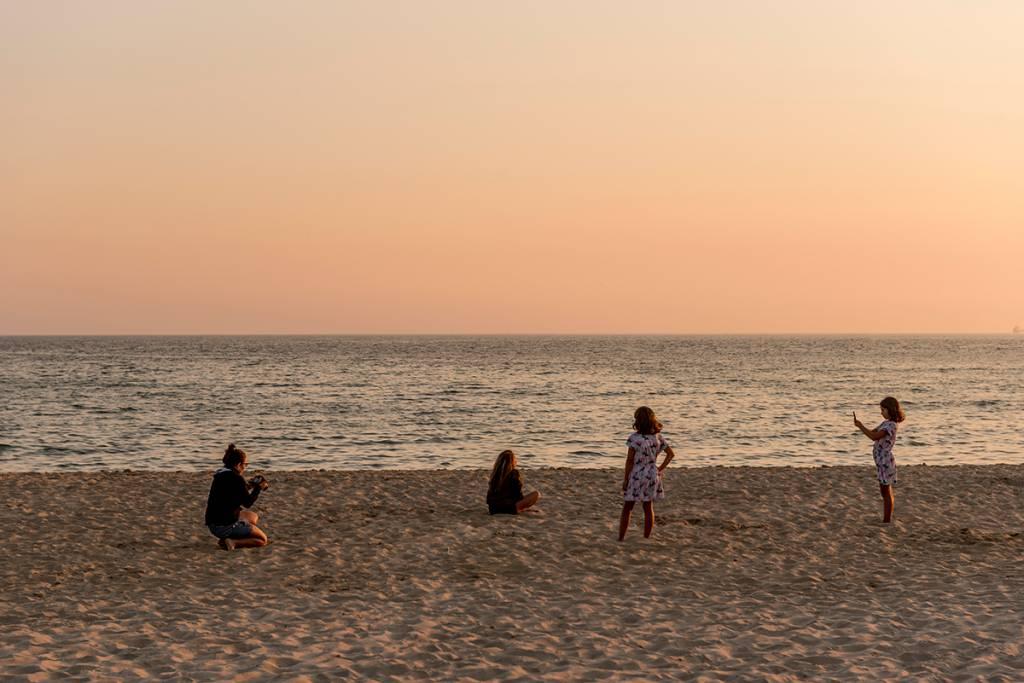 A beira-mar no fim do dia: mergulho delícia