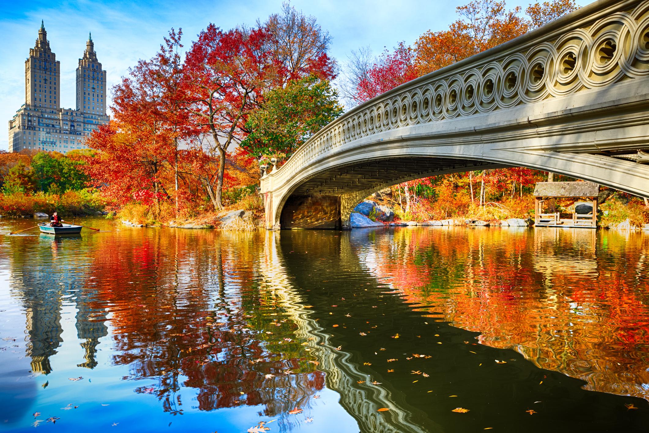 O Central Park e seus muitos muitos tons de vermelho no outono. Crédito: