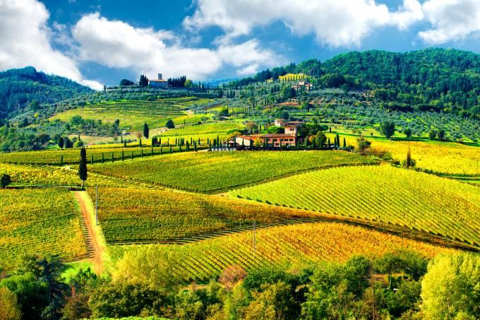 Paisagem do Chianti, região vinícola na Toscana, Itália