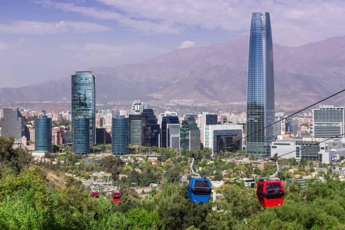 Bondinho no Cerro San Cristobal em Santiago do Chile