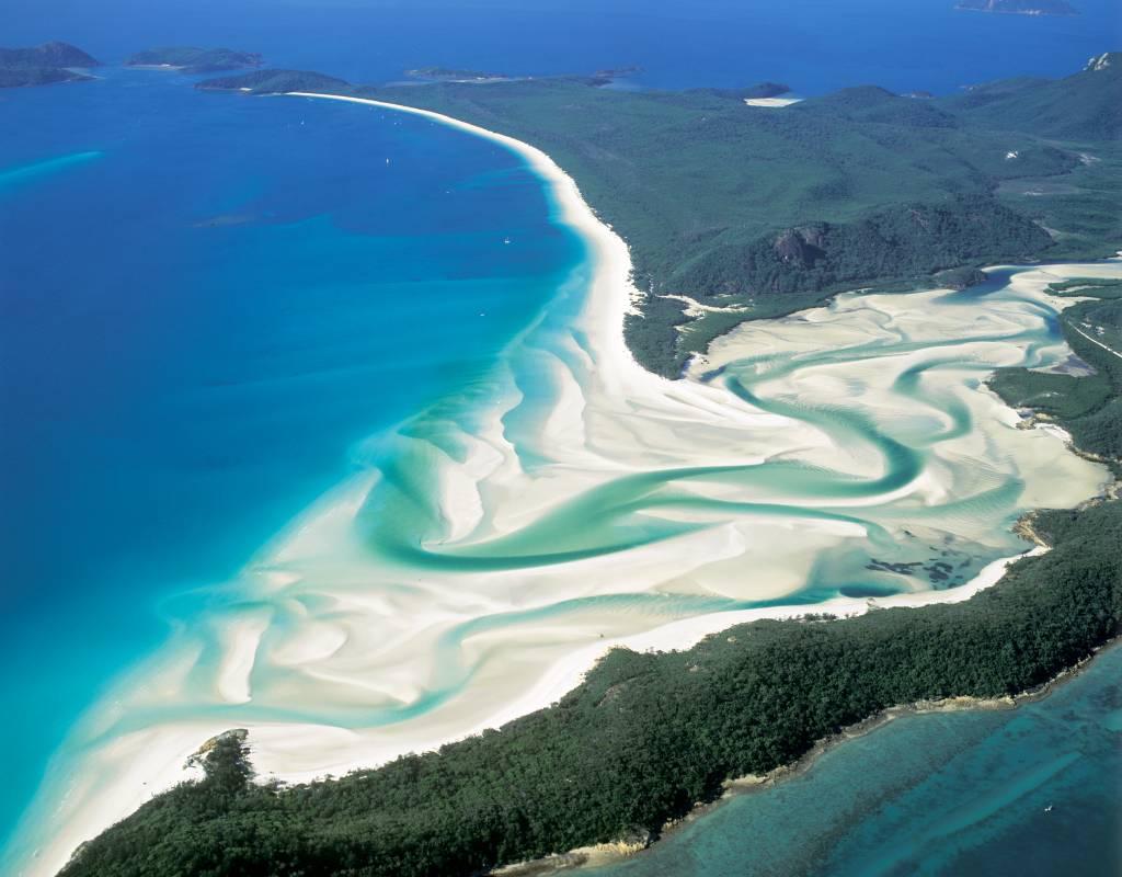 Praia de Whitehaven, na Austrália