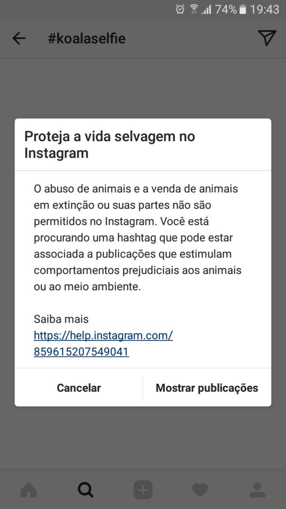 Alerta Instagram contra abuso de animais