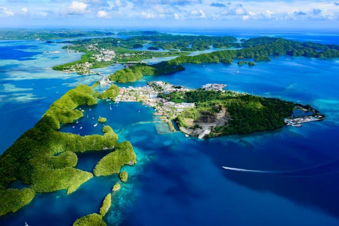 Visão aérea de ilha em Palau