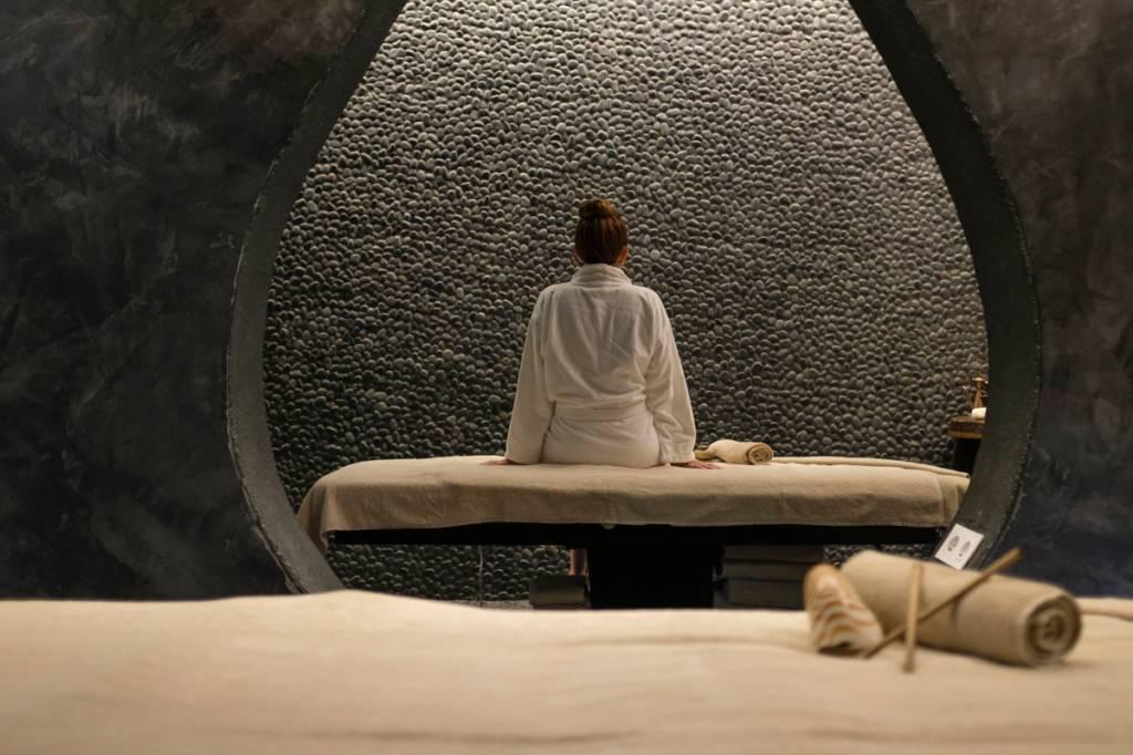 Uma das salas de tratamento: massagens a dois