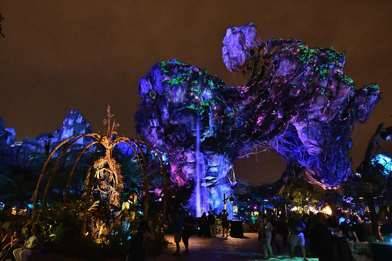 As florestas bioluminescentes de Pandora, na área dedicada ao longa Avatar